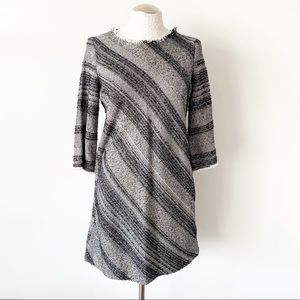 Zara Basic Striped Long Sleeve Knit A-Line Dress